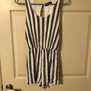 Navy blue and white romper